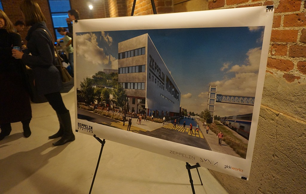 A rendering of the planned Zeppelin Station building on display. (Burl Rolett)