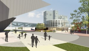 A preliminary rendering of the proposed welcome center in front of North Building. (Courtesy Denver Art Museum)