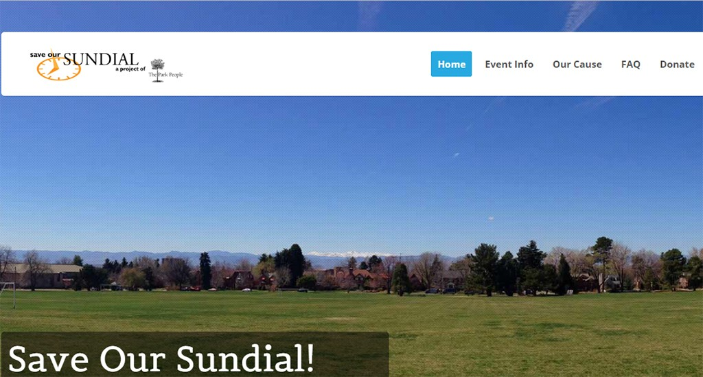 Screenshot of the Save Our Sundial website.