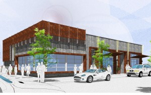 A rendering of the planned three-store retail strip. (Courtesy Elevation)
