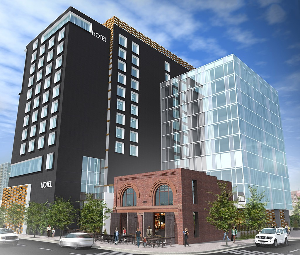 A rendering of the Hilton Garden Inn and attached restaurant, soon to break ground near Union Station. (Courtesy CBRE)