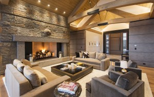 The home's modern mountain design includes steel-plated fireplaces and Colorado stone. (Courtesy Bowden Properties)